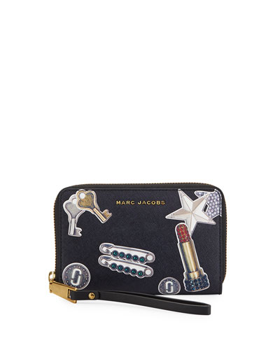 Tossed Charms Saffiano Zip Phone Wristlet Wallet