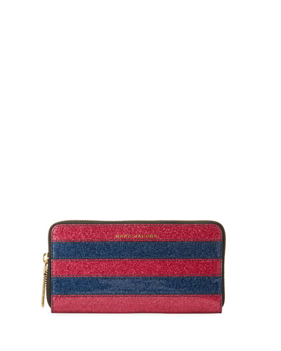 Striped Glitter Continental Wallet