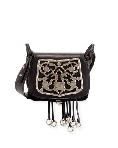 Corsaire Leather Shoulder Bag with Metal Key Lock