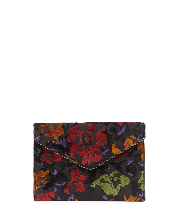 Leo Embroidered Velvet Envelope Clutch Bag