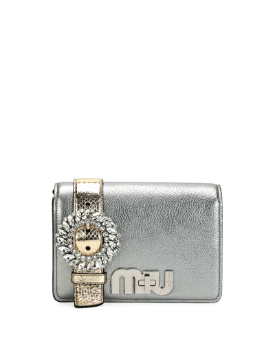 My Miu Small Metallic Jeweled Clutch Bag
