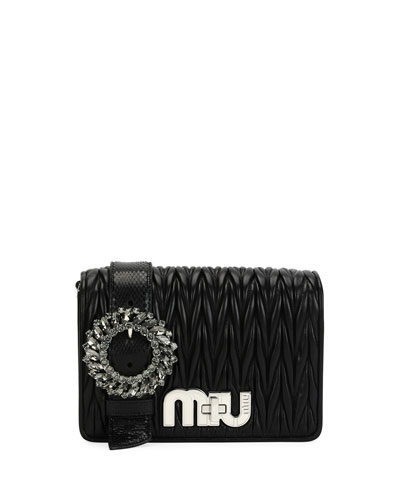 My Miu Small Matelasse Snake-Trim Clutch Bag