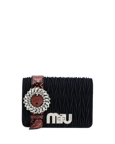 My Miu Matelasse Denim Clutch Bag