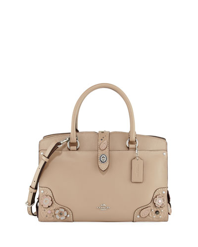 Mercer 30 Tea Rose Tooling Handbag