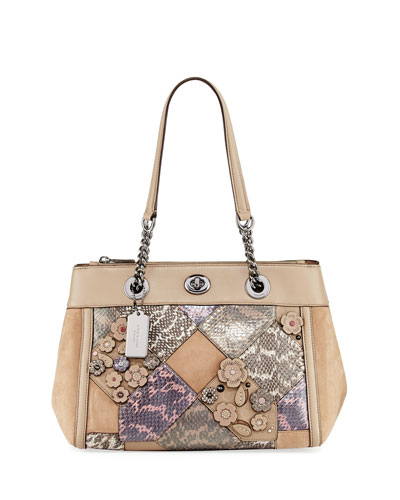 Patchwork Snake Carryall Bag