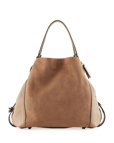 Edie 42 Mixed Leather Shoulder Bag