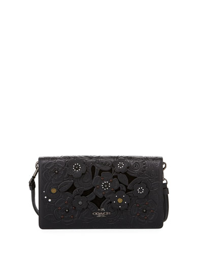 Tea Rose Embossed Crossbody Clutch Bag, Black