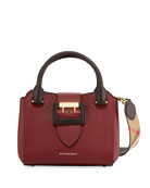 Small Soft Grain Leather Tote Bag, Burgundy