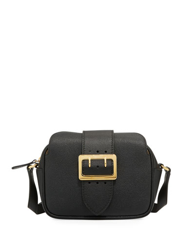 Grain Leather Buckle Crossbody Bag, Black