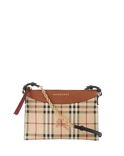Peyton Haymarket Check Leather Clutch Bag, Tan