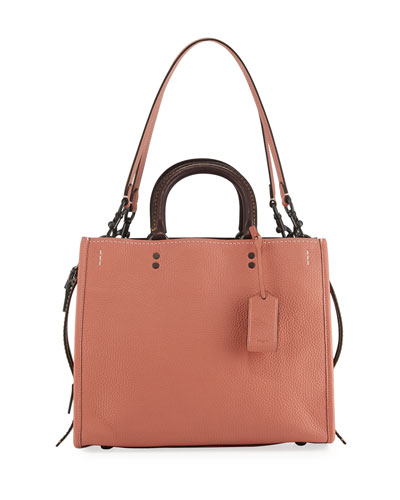 Rogue Small Leather Tote Bag, Orange