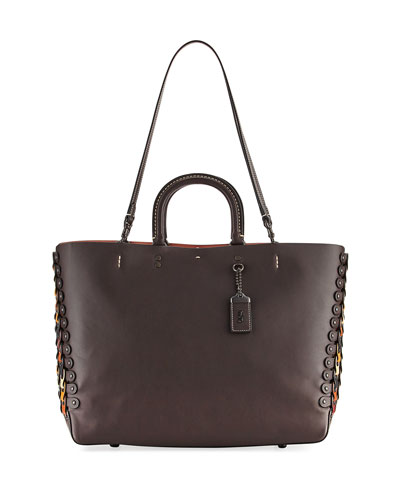 Rogue Link Leather Tote Bag, Brown