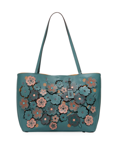 Lattice Tea Rose Leather Tote Bag