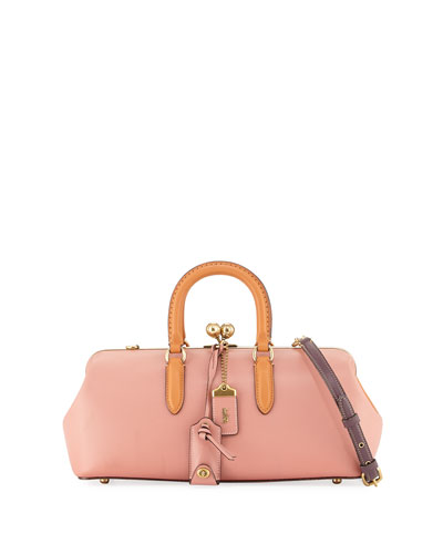 Colorblock Wide Leather Kiss-Lock Satchel Bag