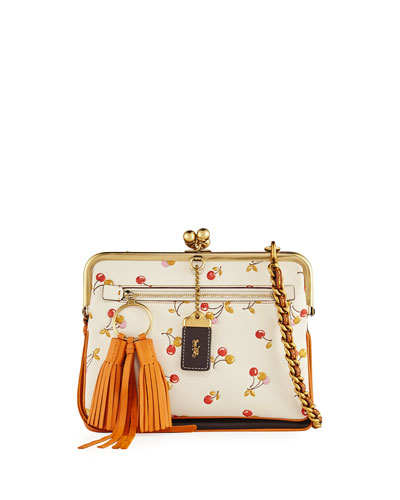 Cherry-Print Kiss-Lock Crossbody Bag