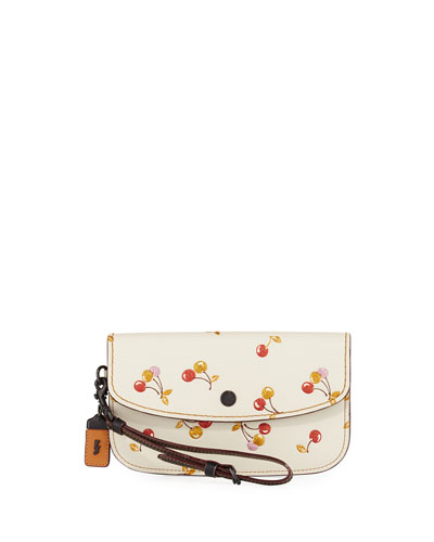 Cherries-Print Leather Clutch Bag
