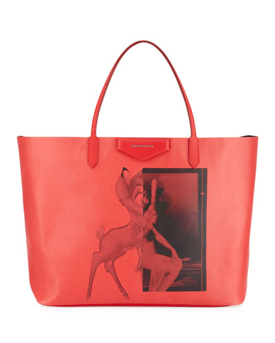 Antigona Coated Canvas Shopper Tote Bag, Red Bambi