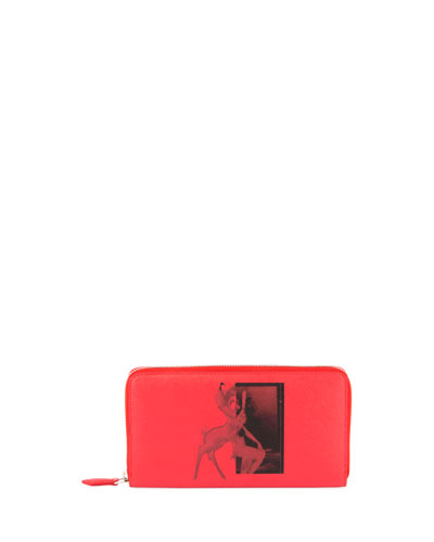 Zip-Around Long Wallet, Red Bambi Print