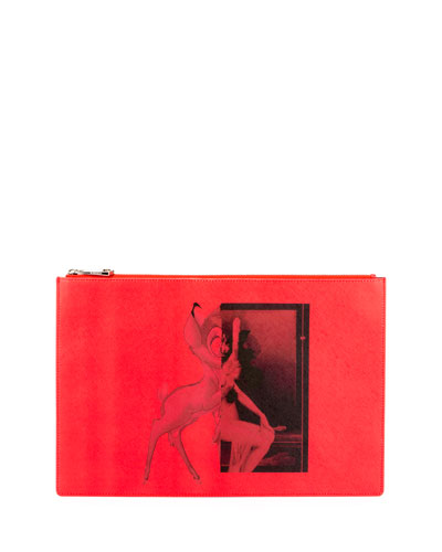 Large Bambi Printed Pouch Bag, Red