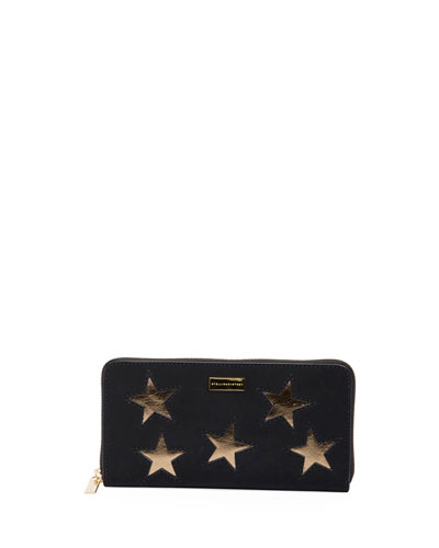 ZIP AROUND WALLET WITH STARS
