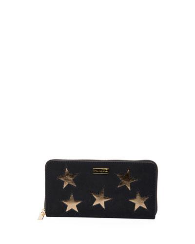 Zip Around Wallet With Stars, Black/Gold