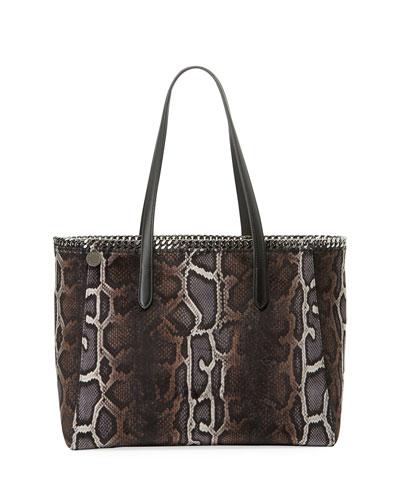 Falabella Snake-Print Velvet Tote Bag