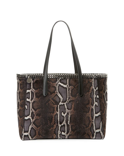 Fallabella Snake-Print Velvet Tote Bag