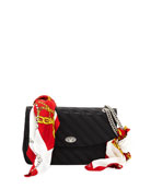 Lock Round Medium Scarf Satin Shoulder Bag