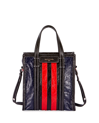 Bazar AJ Extra-Small Striped Tote Bag, Red/Black