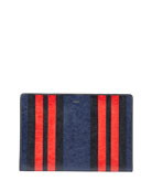 Bazar Striped Leather Pouch Bag, Blue/Red/Multi