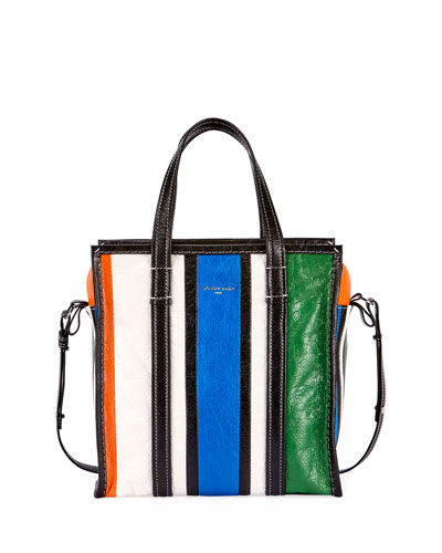 Bazar Small Striped Leather Shopper Tote Bag, Multi