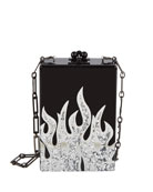Carol Flames Acrylic Clutch Bag, Black