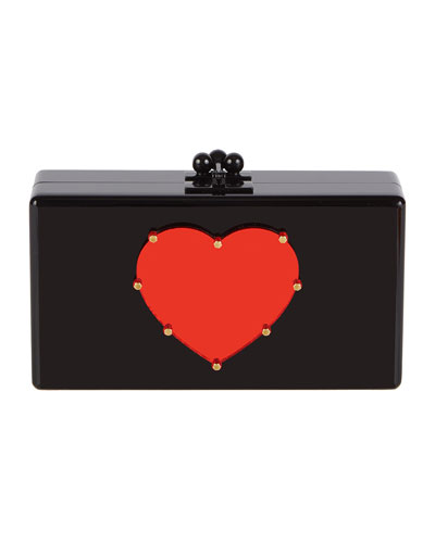 Jean Studded Heart Acrylic Clutch Bag