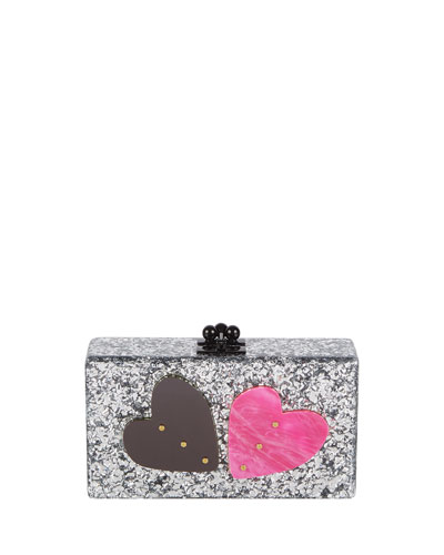 Jean Double Heart Clutch Bag, Silver