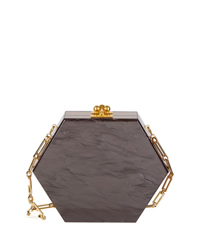 Macy Ribbon Hexagonal Clutch Bag, Gray/Brown