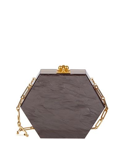 Macy Ribbon Hexagonal Clutch Bag, Gray/Brown