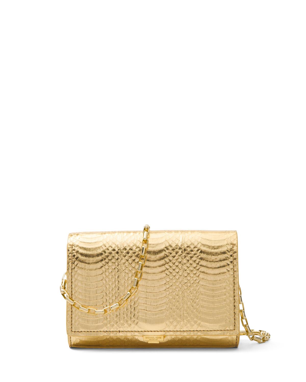 Yasmeen Small Metallic Snakeskin Clutch Bag