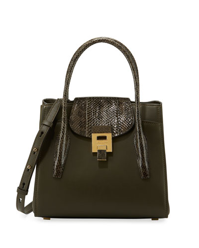 Bancroft Medium Snake-Trim Satchel Bag