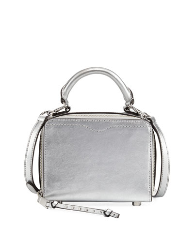 Metallic Leather Box Crossbody Bag