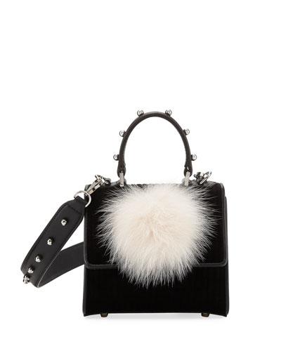 Micro Alex Bunny Velvet & Leather Satchel Bag