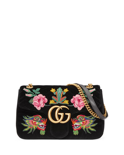 110th Anniversary GG Marmont Small Dragon Velvet Shoulder Bag