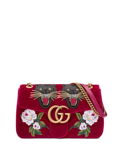 110th Anniversary GG Marmont Small Panther Velvet Shoulder Bag