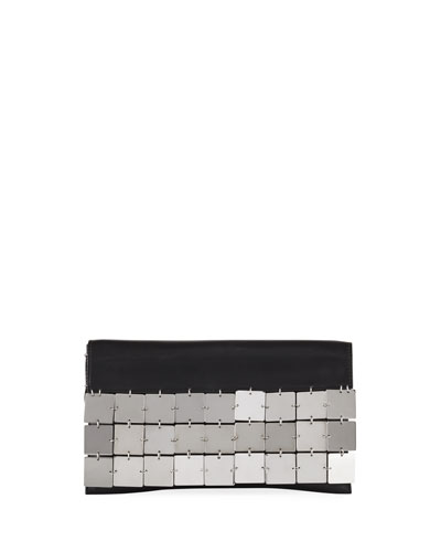 Metal Square Clutch Bag, Black