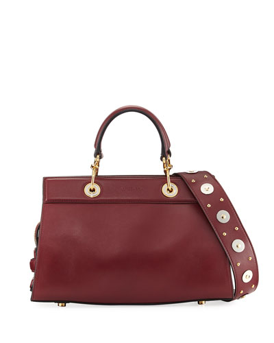 Infinity Small Smooth Studded Leather Tote Bag