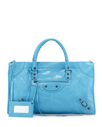 Classic Work Lambskin Tote Bag, Blue