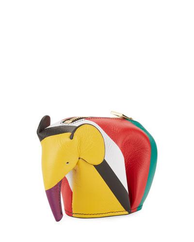 Colorblock Leather Elephant Coin Purse