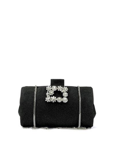 Soft Embellished Flowers Clutch Bag