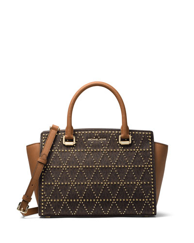 Selma Medium Studded Twill Satchel Bag