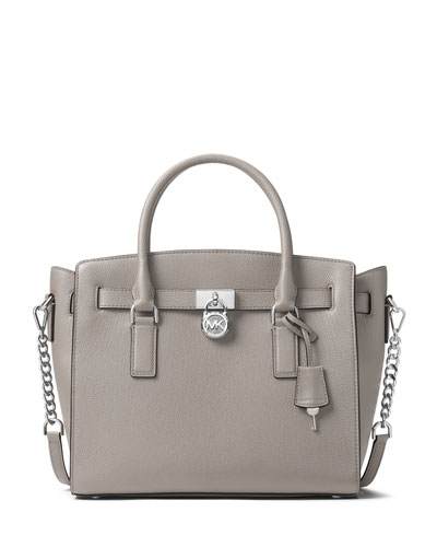 Hamilton Large East-West Leather Satchel Bag with Silvertone Hardware