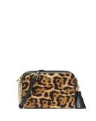 Ginny Medium Leopard-Print Calf Hair Camera Bag
